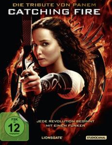 Cover Catching Fire mit Jennifer Lawrence und Pfeil und Bogen