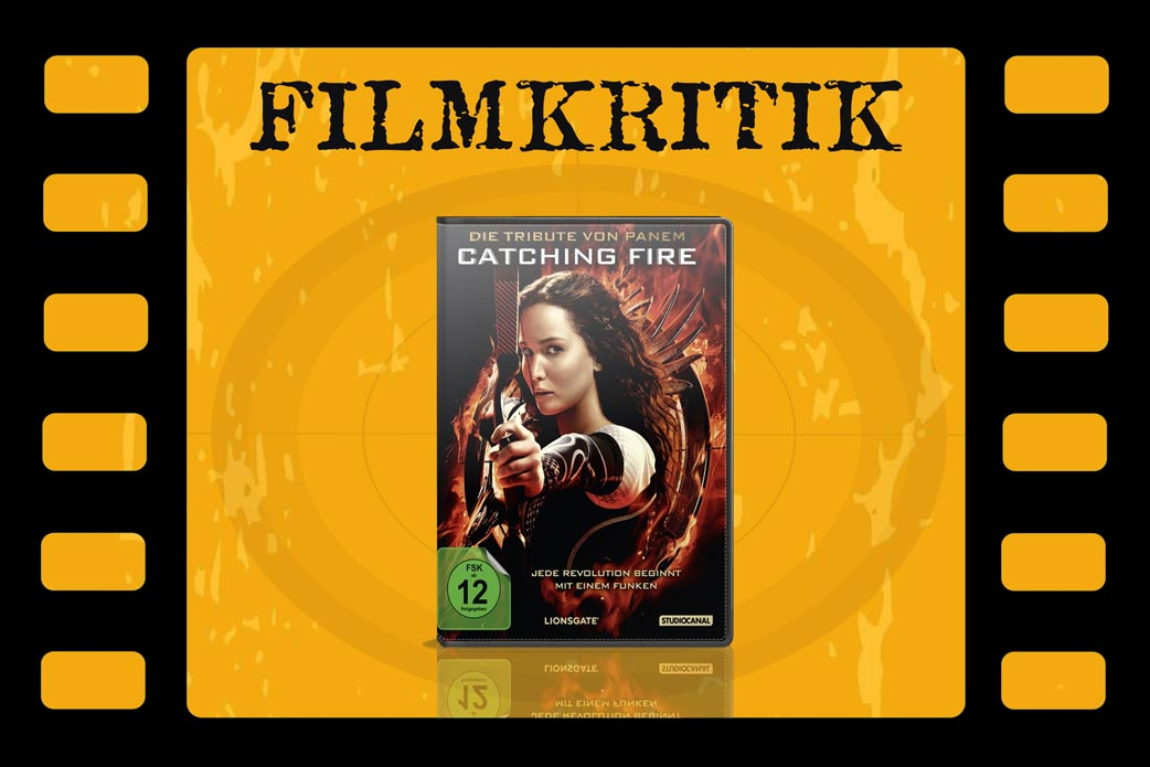 Filmkritik Catching Fire mit DVD Cover in Filmrolle