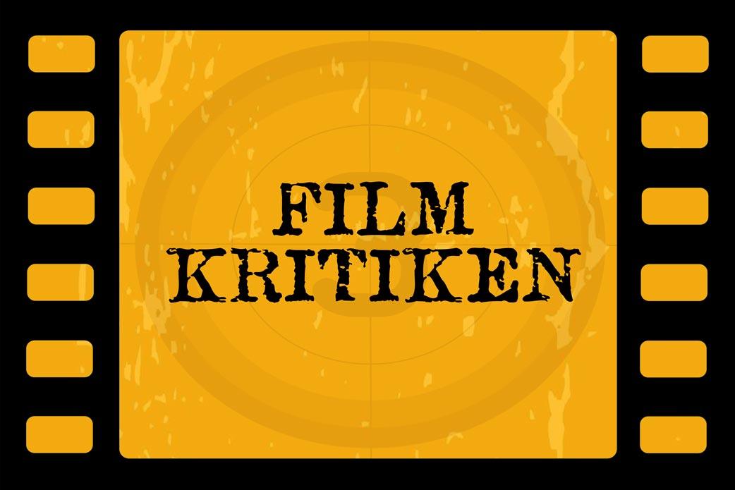 Filmkritiken in Filmstreifen umrahmt auf organenem Hintergrund mit Countdown