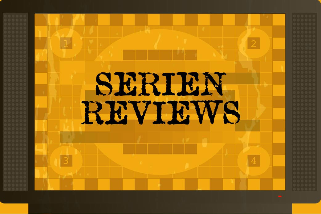 Serien-Reviews in Fernseher auf orangenem Hintergrund mit Störbild