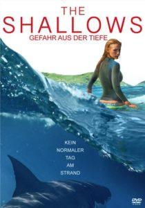 DVD Cover von The Shallows mit Blake Lively und einem Hai im Wasser unter ihr