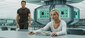 Chris Pratt und Jennifer Lawrence in der Kantine der Avalon in Passengers