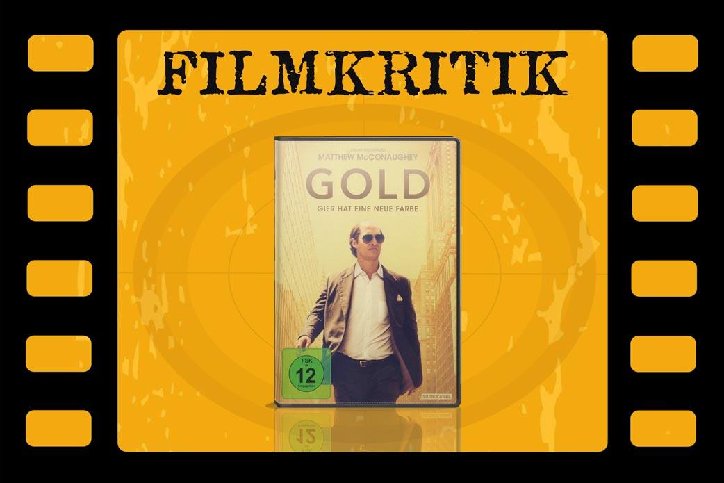 Filmkritik Gold mit DVD Cover in Filmrolle