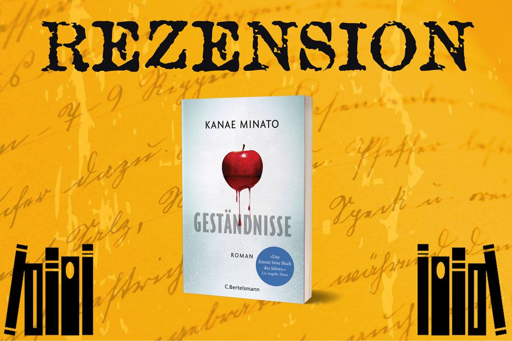 Rezension Geständnisse von Kanae Minato mit Bücherstapln auf orangenem Hintergrund