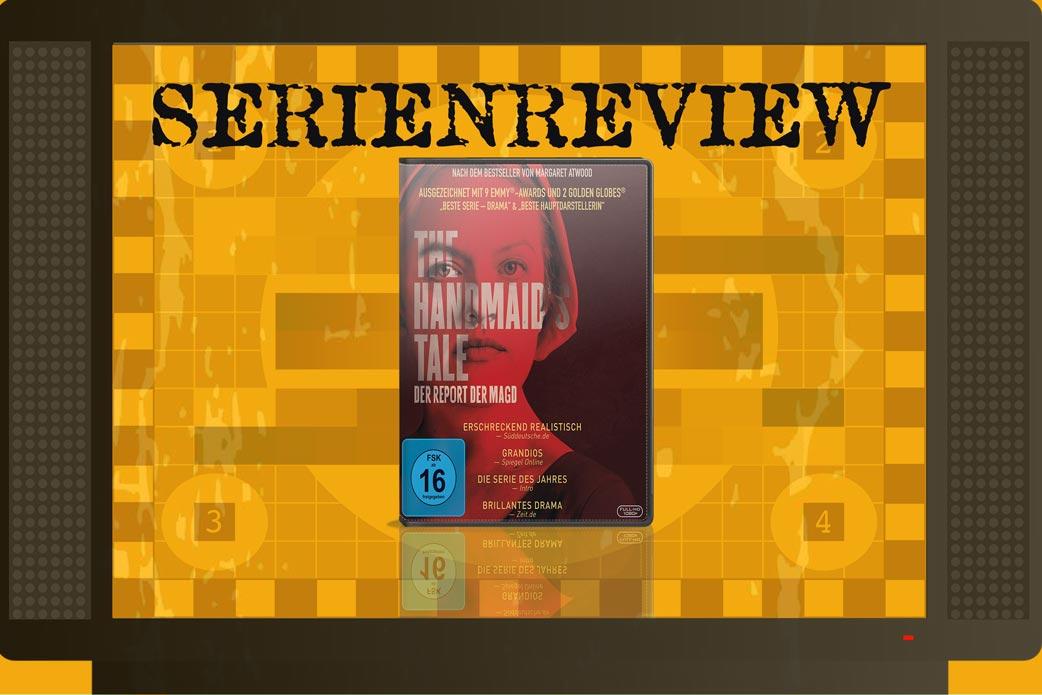 The Handmaid's Tale in Fernseher mit DVD Cover auf orangenem Hintergrund